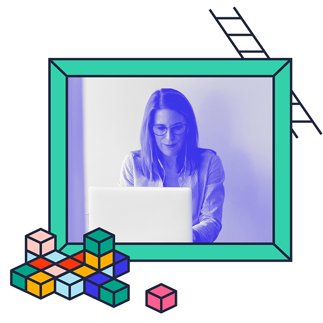 Woman on laptop with shapes and ladder illustrations