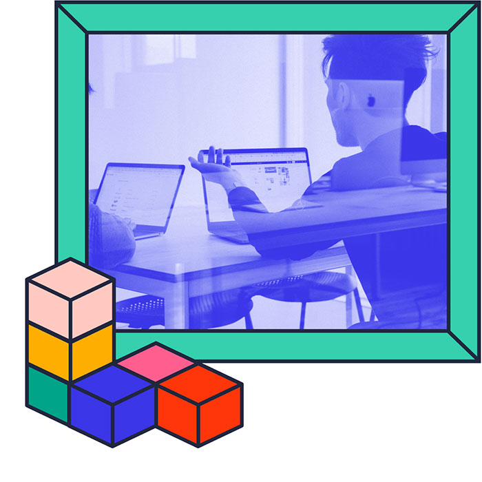 Person on a laptop with shapes around the image