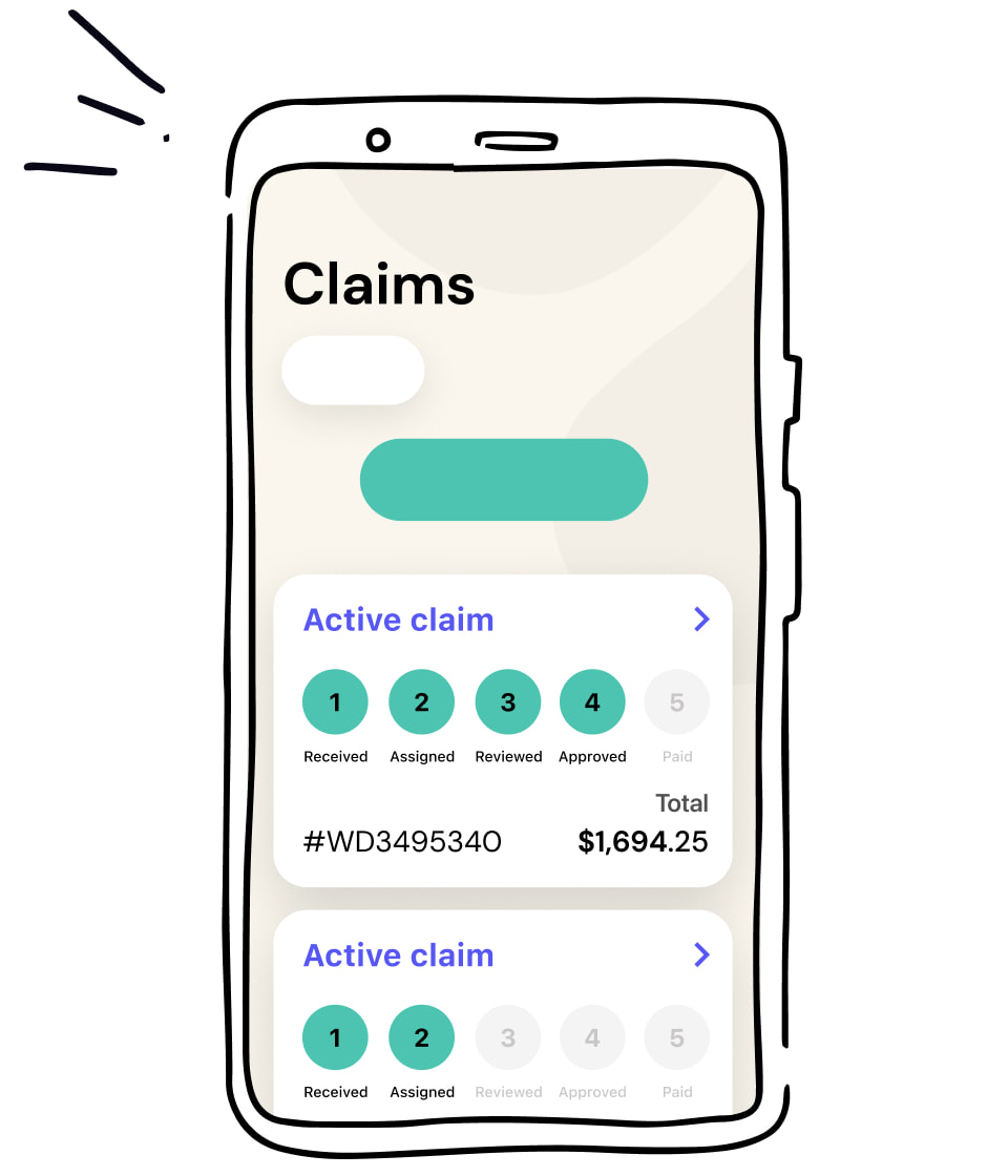 Illustration of the claims screen in Petplan app