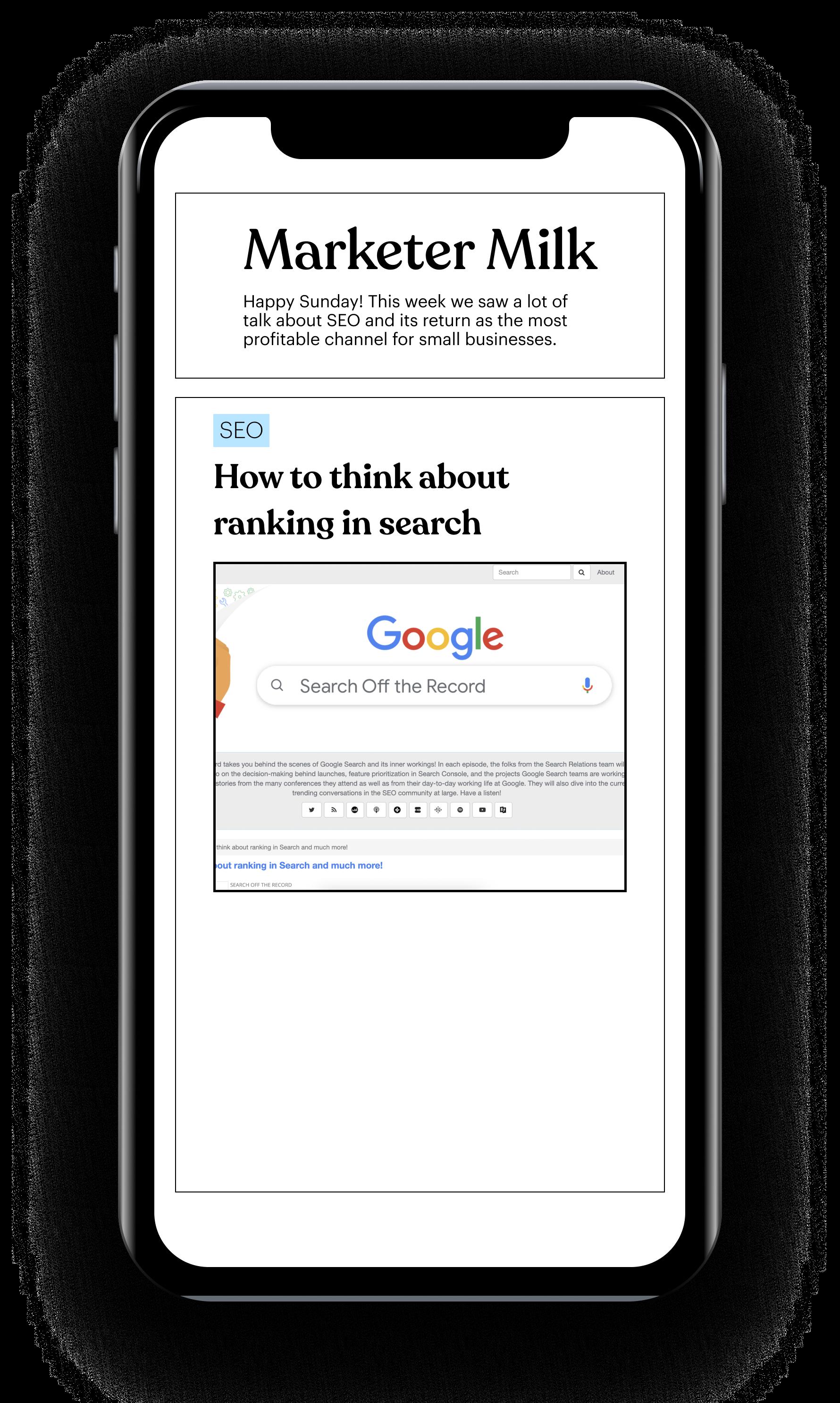 Marketer Milk newsletter on iPhone