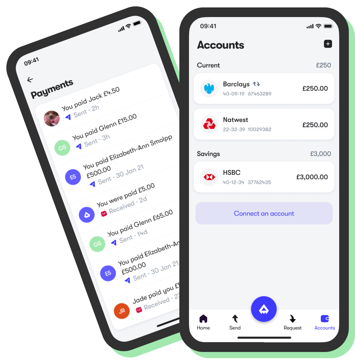 Screens for accounts and payments