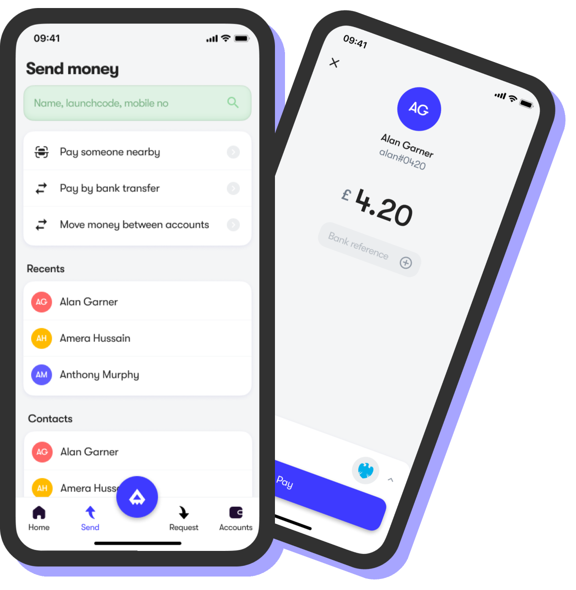 Screens for sending payments
