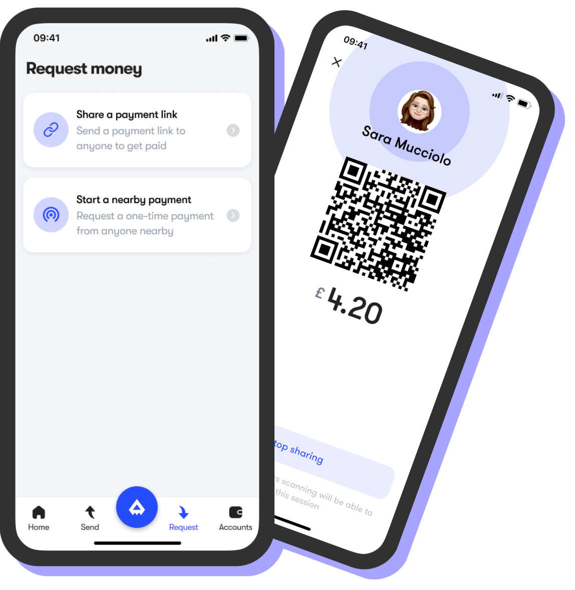 Request payments screen