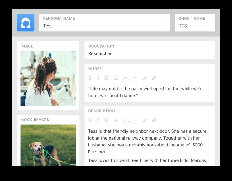 Mockup of in-app persona editor