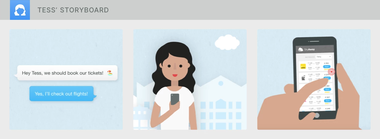 A sequence of three images to inform a storyboard: speech bubbles, woman with smartphone, hands on smartphone