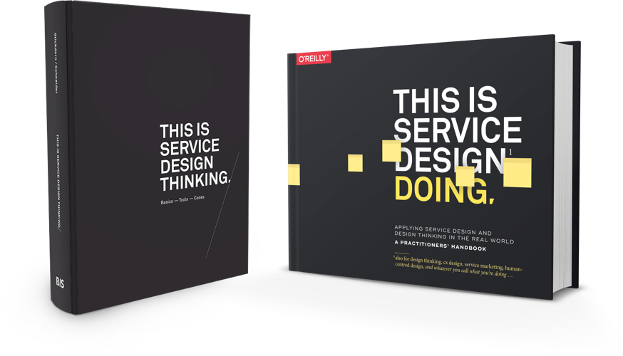 Packshots of the hardcover books This is Service Design Thinking and This is Service Design Doing