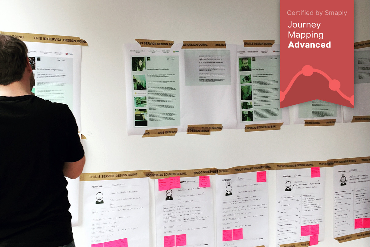 Photo of a wall with sketchy persona templates on the wall, man in front analyzing it, overlay with Smaply Certificate