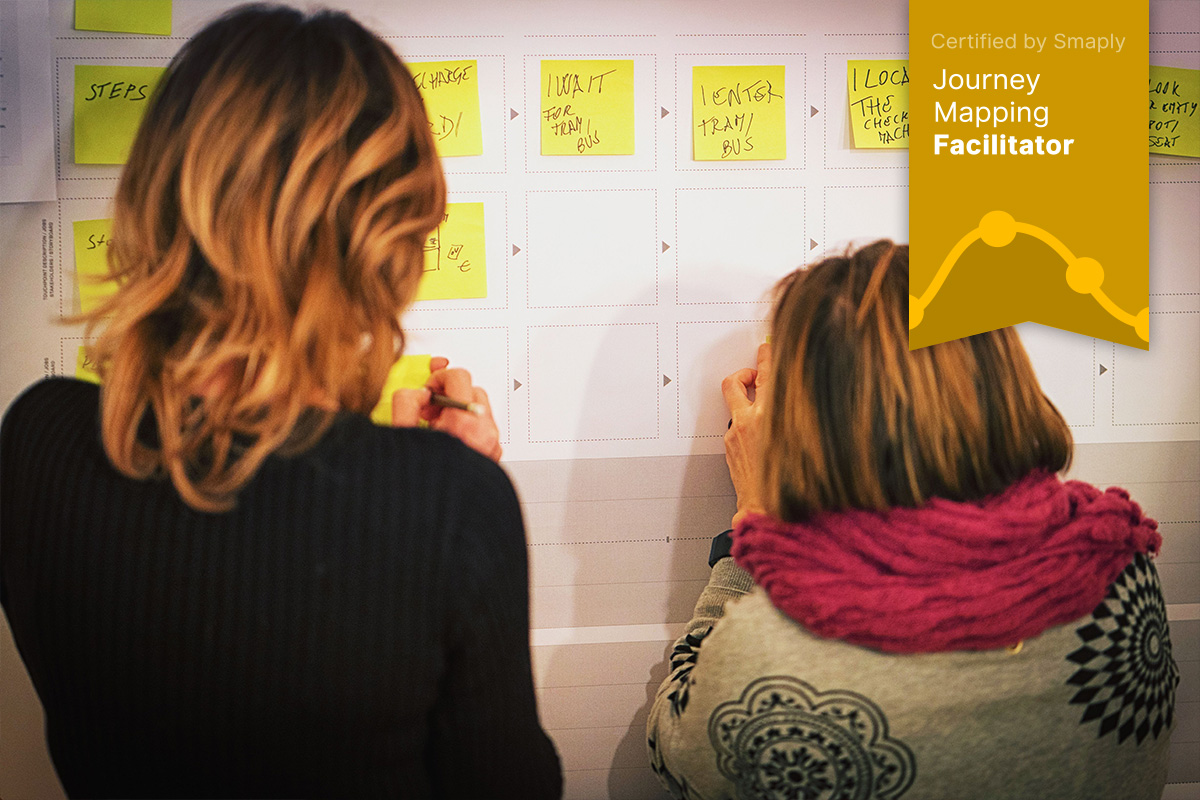 Photo over the shoulder of two women, working with a large journey map templates on the wall, with sticky notes, overlay with Smaply certificate