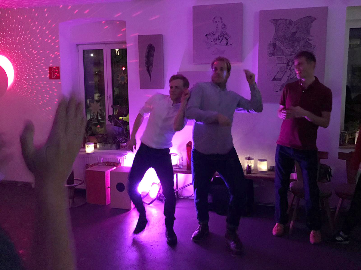 Some of our team members losing it during a dance-off on our christmas party
