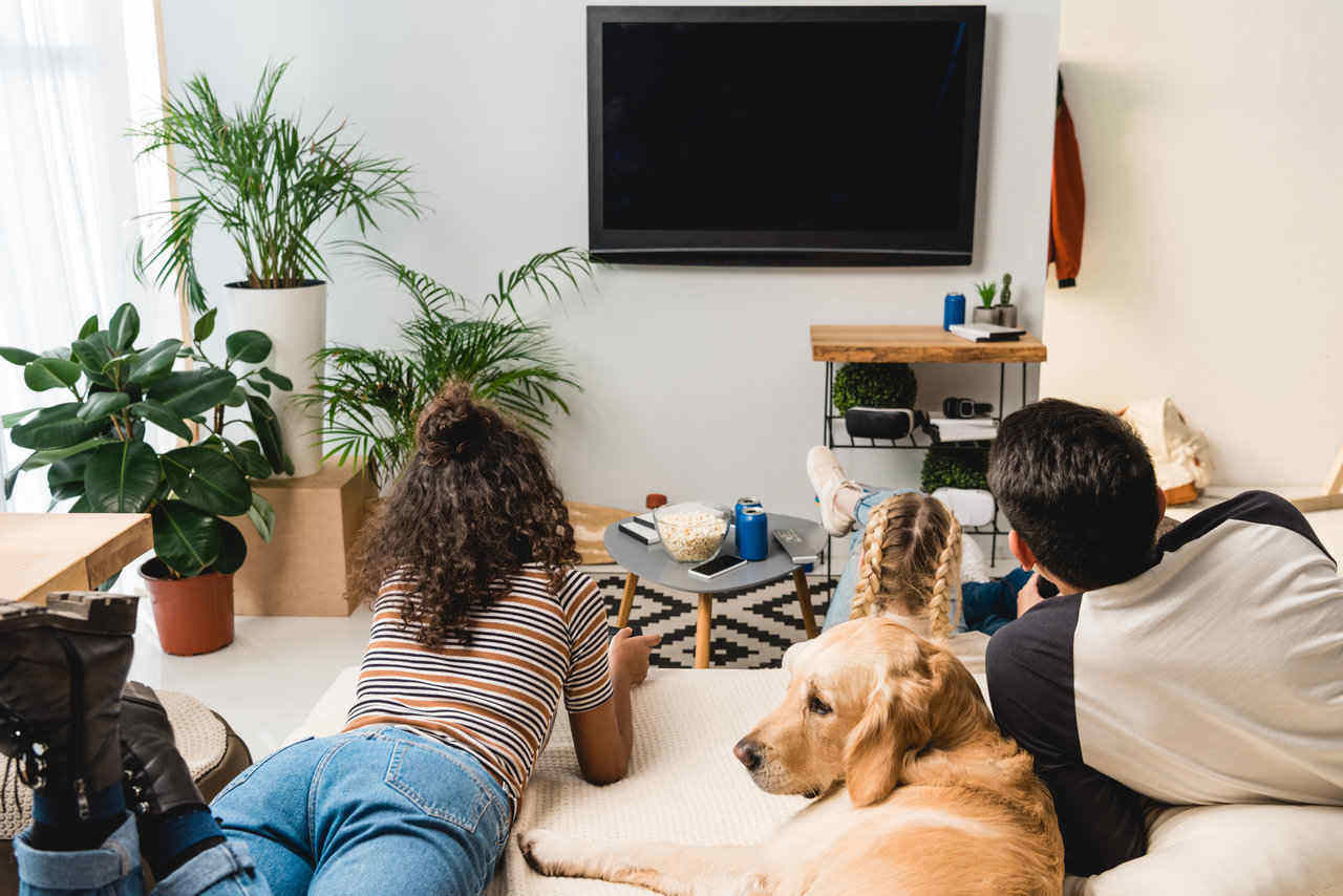 friends watching TV with dog