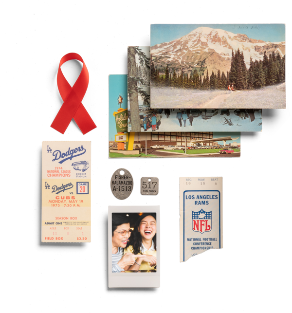 photo collage of inspiring mountains, ticket stubs, happy old memories