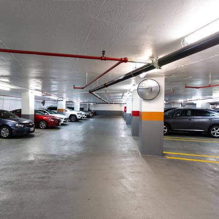 A busy hotel car park