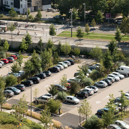 View of a retailer's car park from above