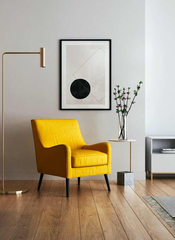 Modern home interior | yellow chair, living space