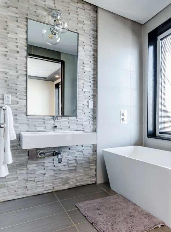 Modern home interior | Bathroom, brick, sunlight