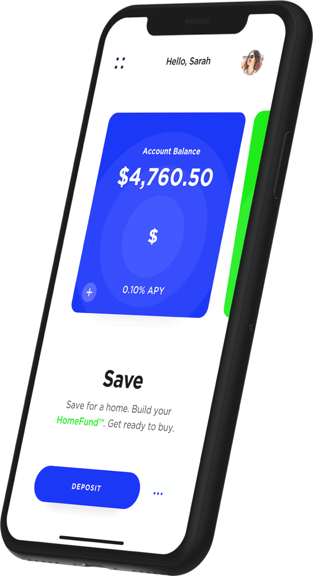 Lower app showing savings tracking for your next home purchase