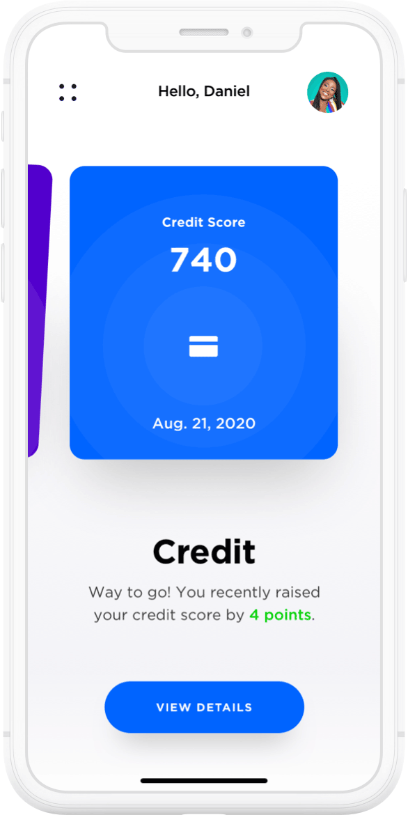 Lower app displaying your no impact credit score