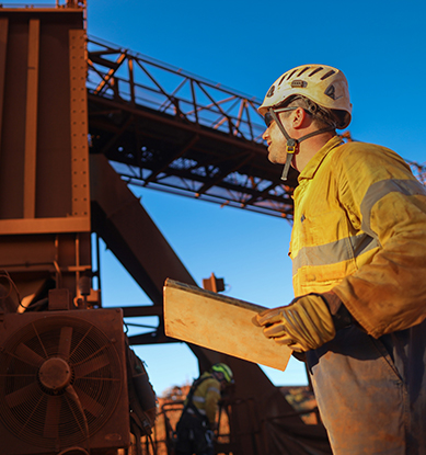 Mines safety professional performing inspection