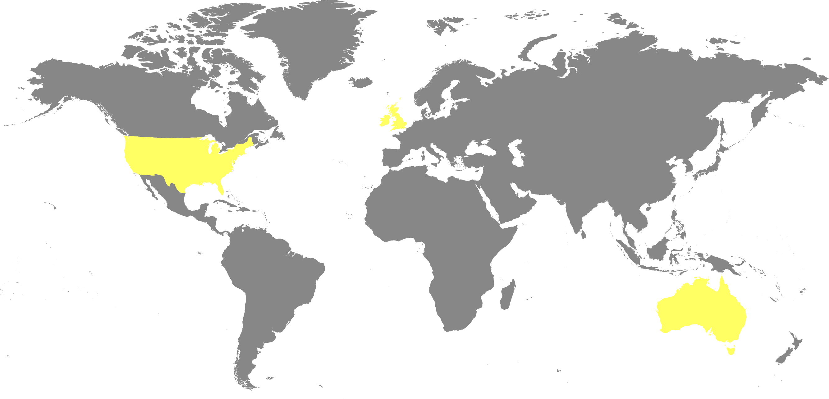 World map: we're in the UK, US and Australia