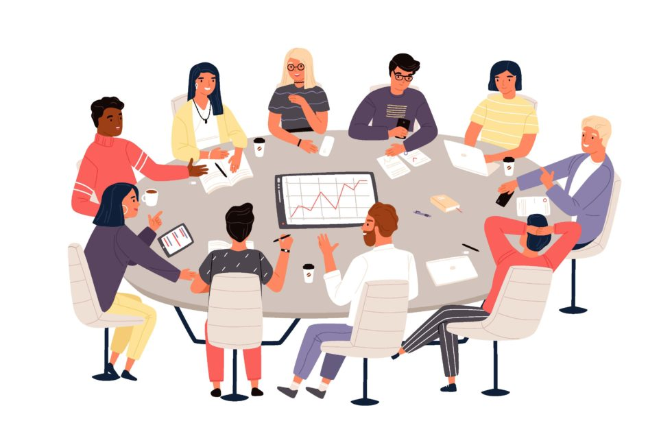 Illustration of teachers conducting assessment on a round table