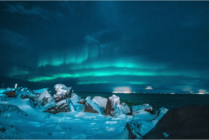 The northern lights over the arctic
