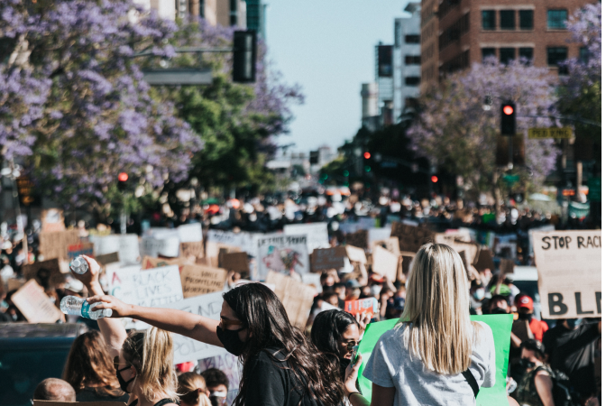 A youth climate change protest taking over the streets.
