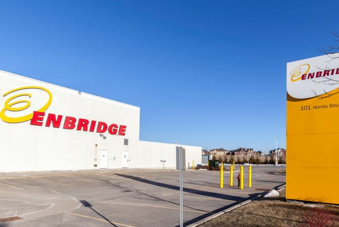 Enbridge factory parking lot and building