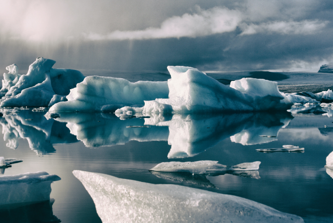 Icebergs melting in the arctic due to climate change
