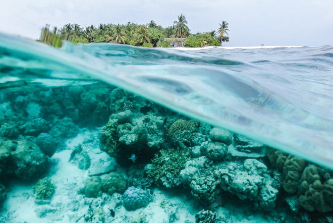 An island in the Maldives, a country at risk of disappearing due to climate change