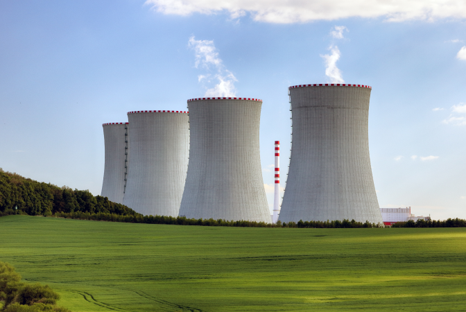 Four nuclear reactor cooling stacks