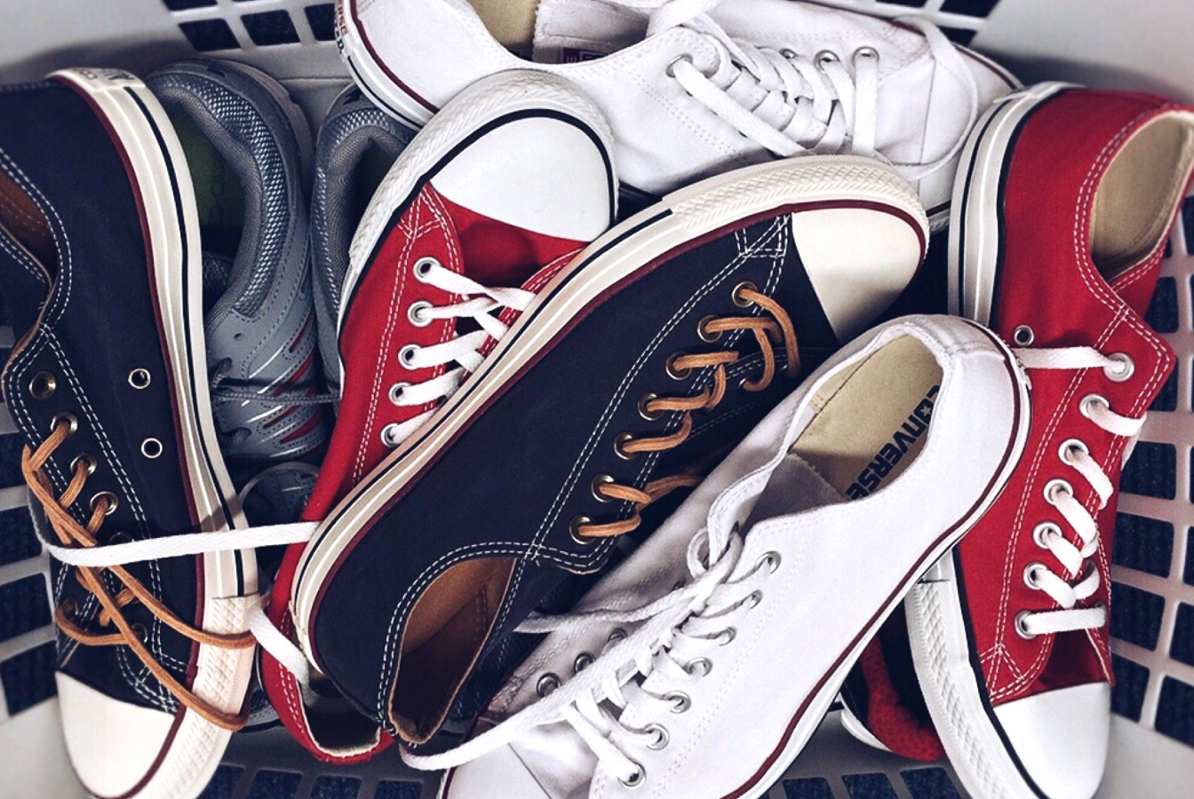 Assortment of shoes in a basket