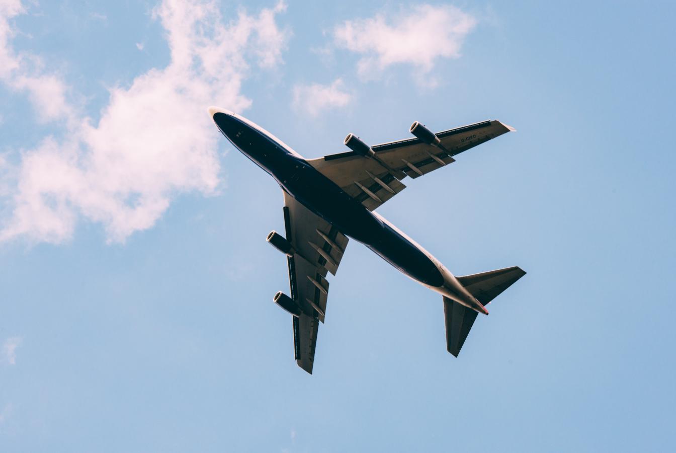 Passenger plane flying overhead
