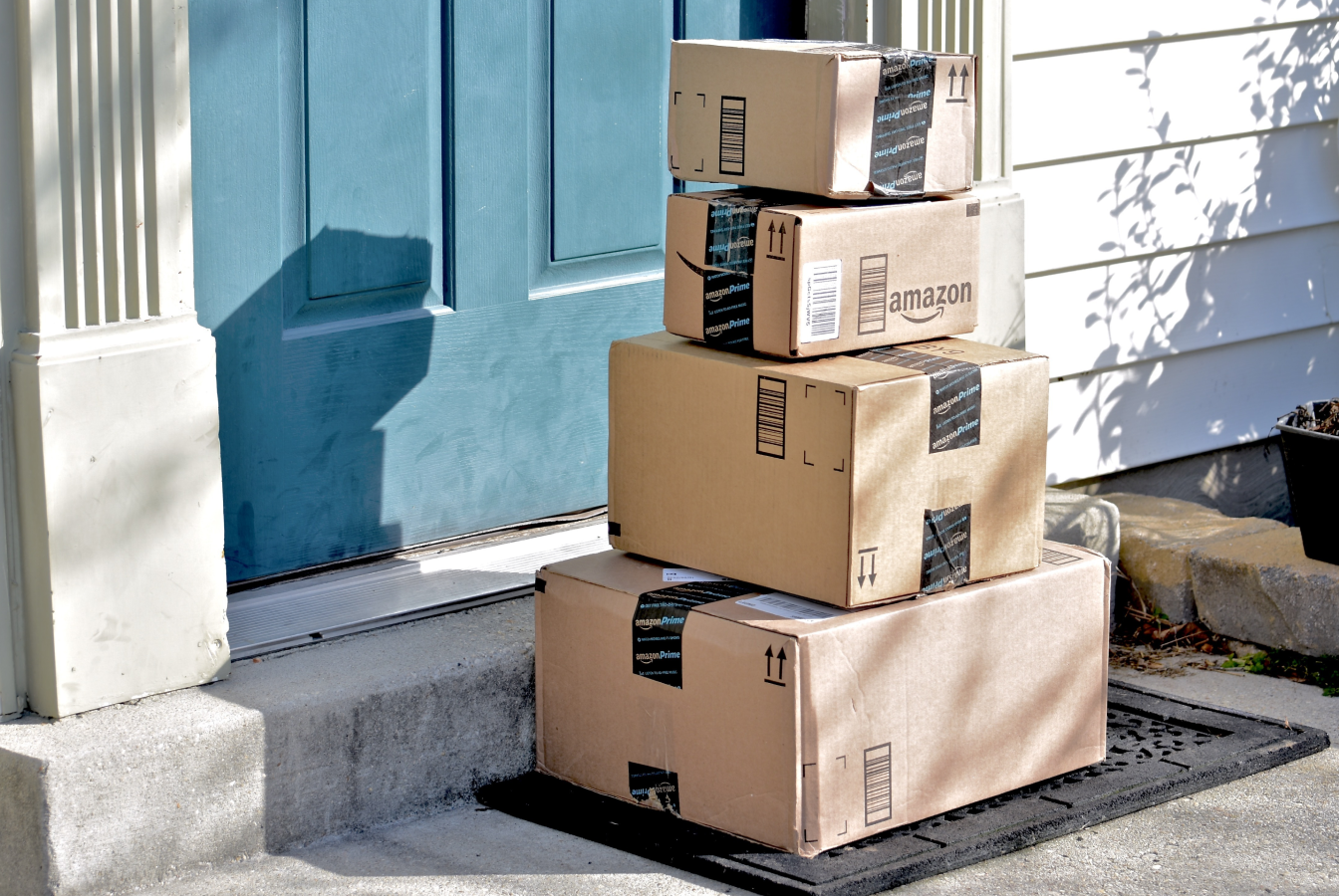 Stack of parcels outside the door of a house