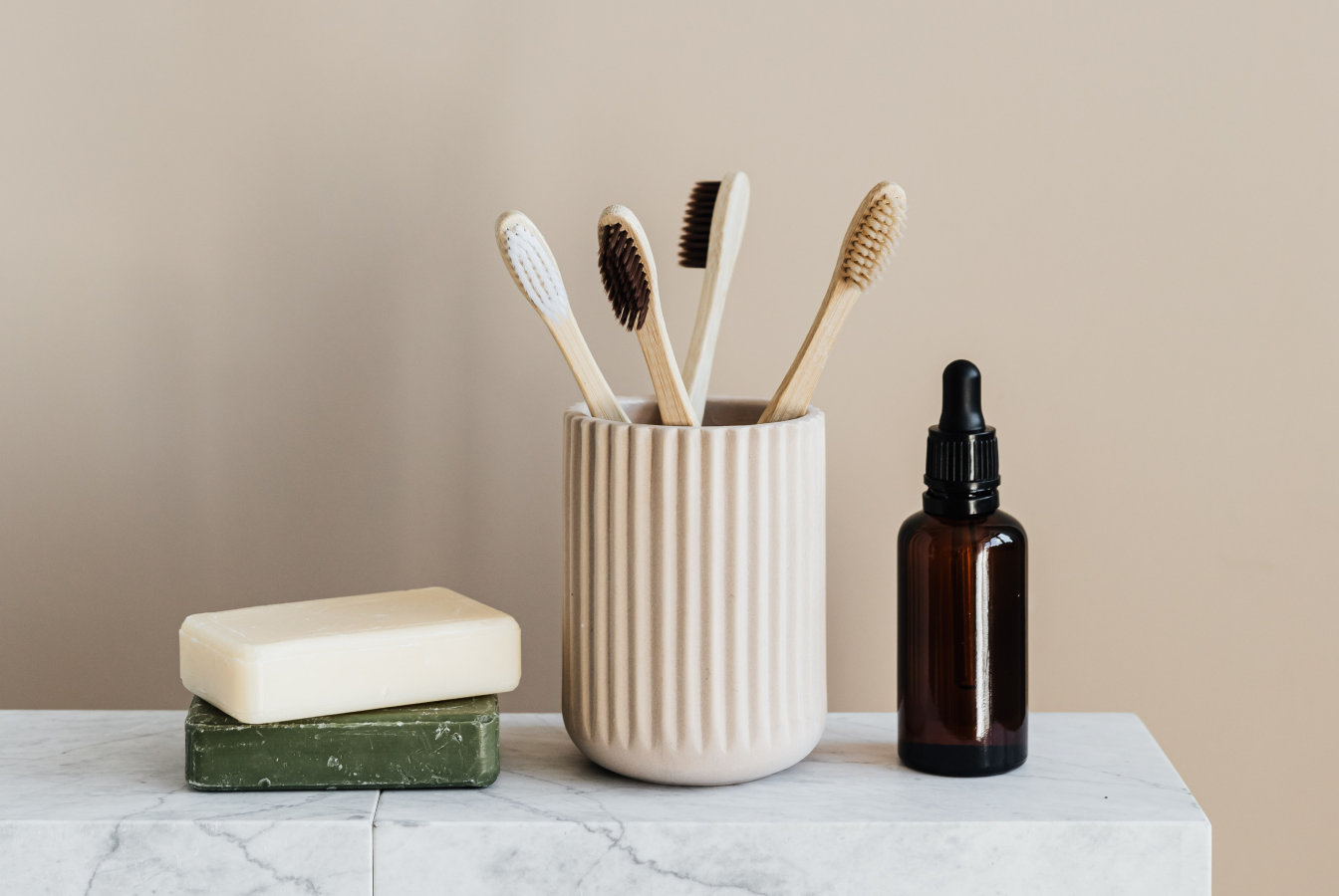 Eco friendly products including tooth brushes and soap