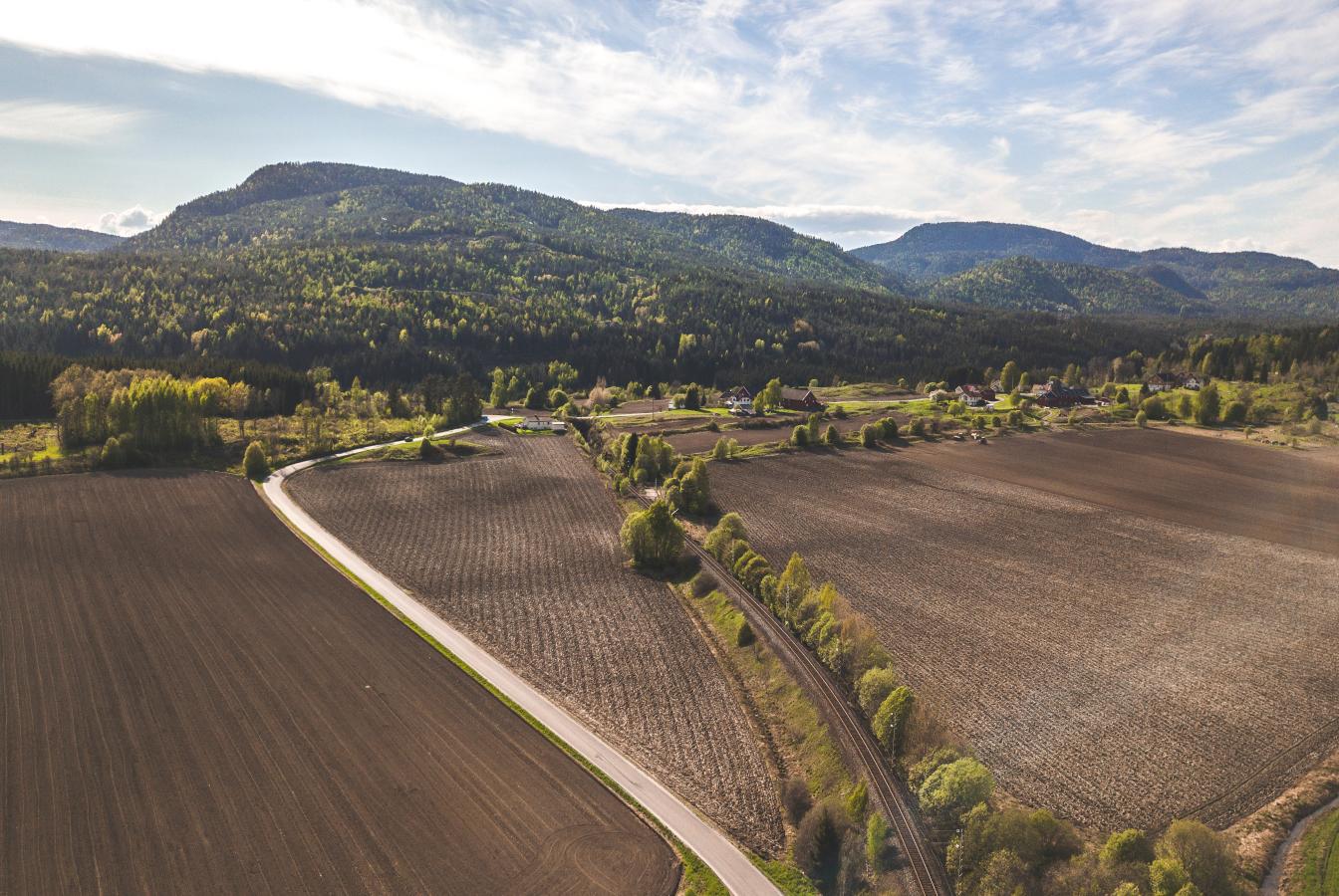 Tilled farm field aerial view
