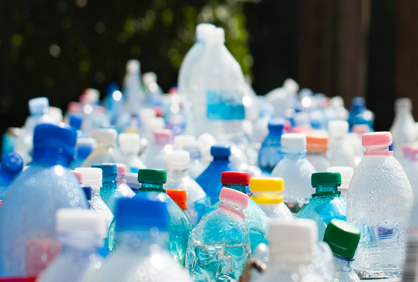 Large group of plastic bottles