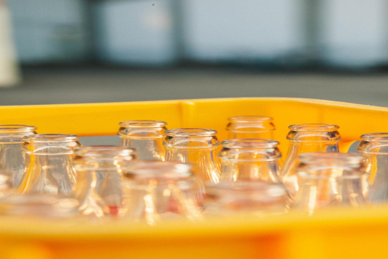 Crate of glass milk bottles