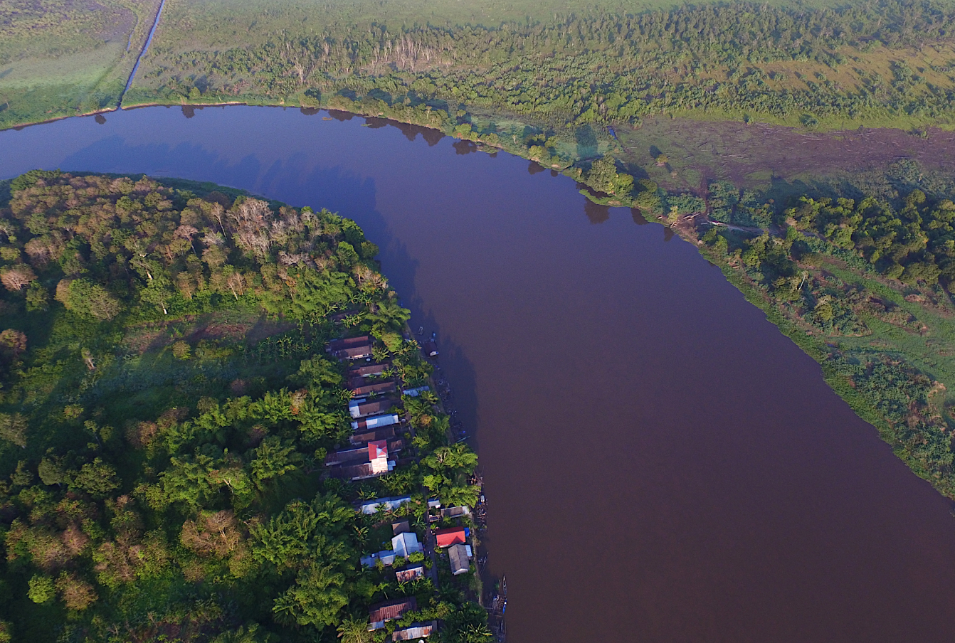Aerial view of carbon offset project Rimba Raya village