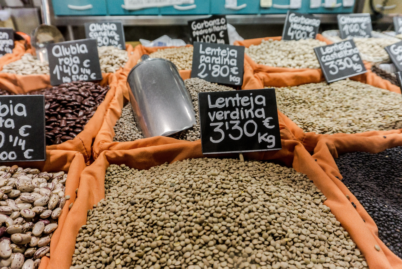 Wholesale bins of assorted beans and legumes