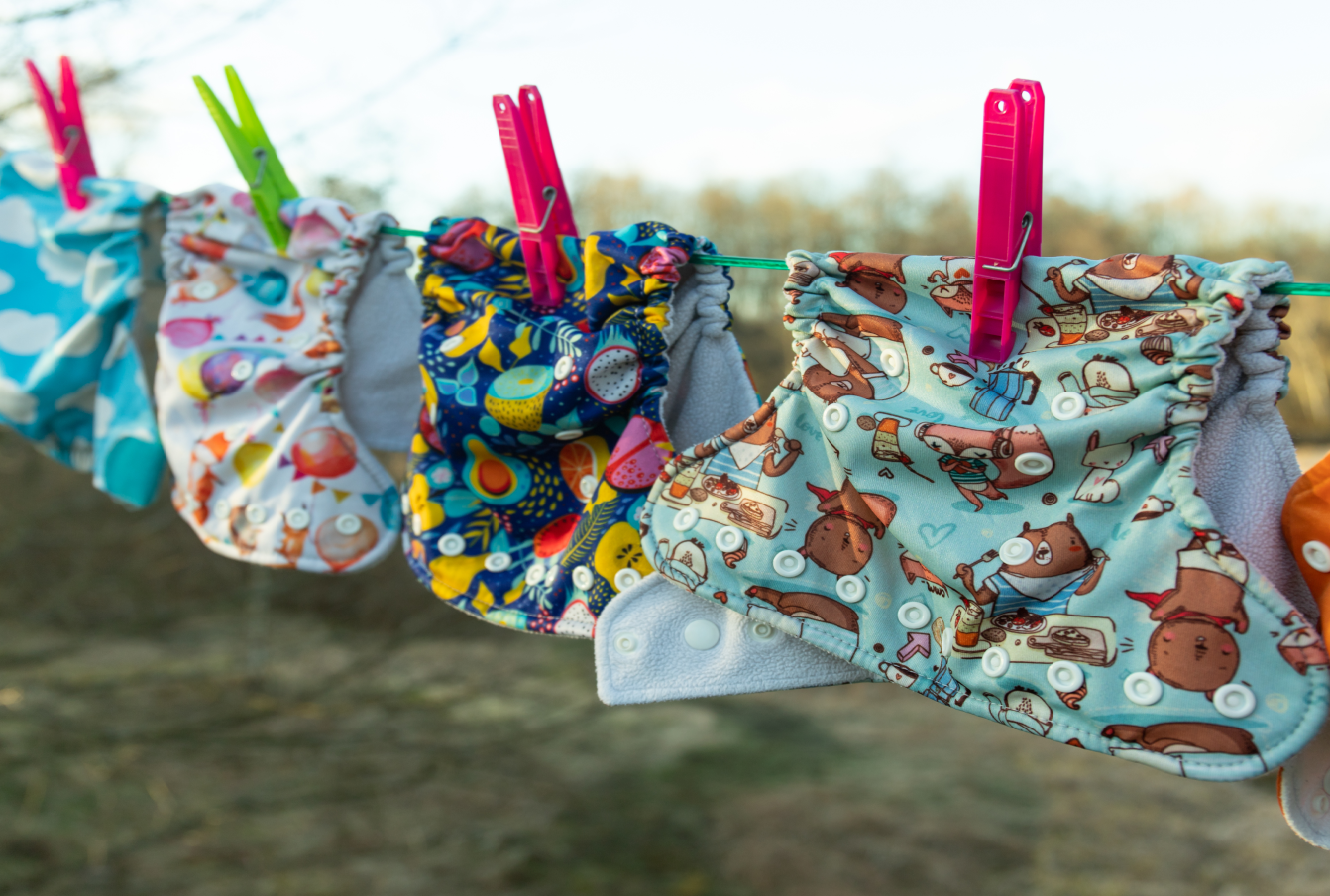 Cloth diapers on laundry line