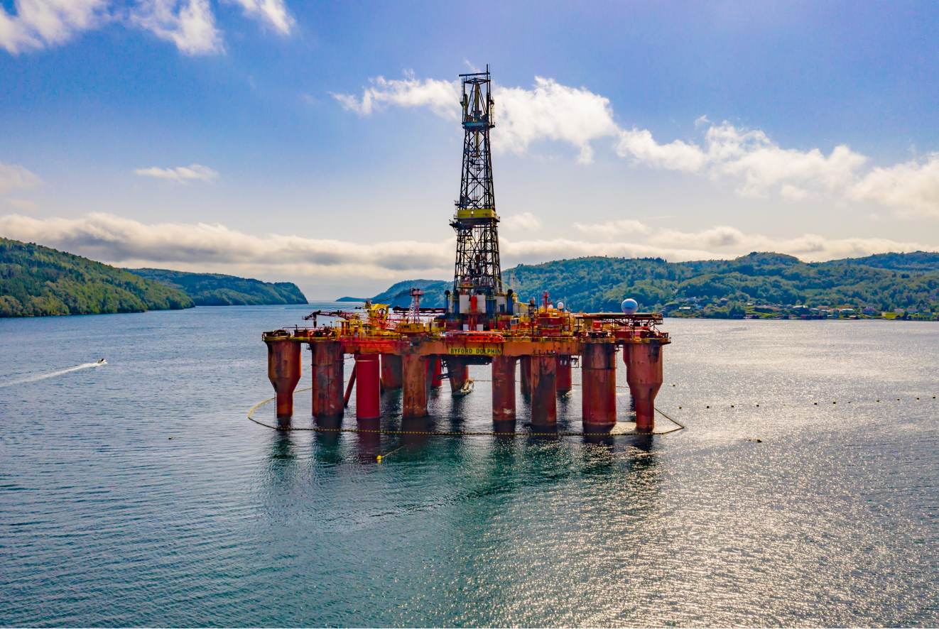 An oil rig in Norway drilling in the middle of the ocean
