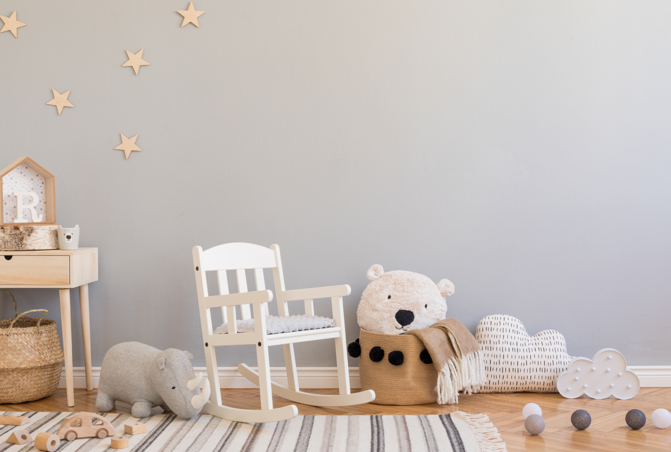 A room full of eco-friendly gifts for babies.