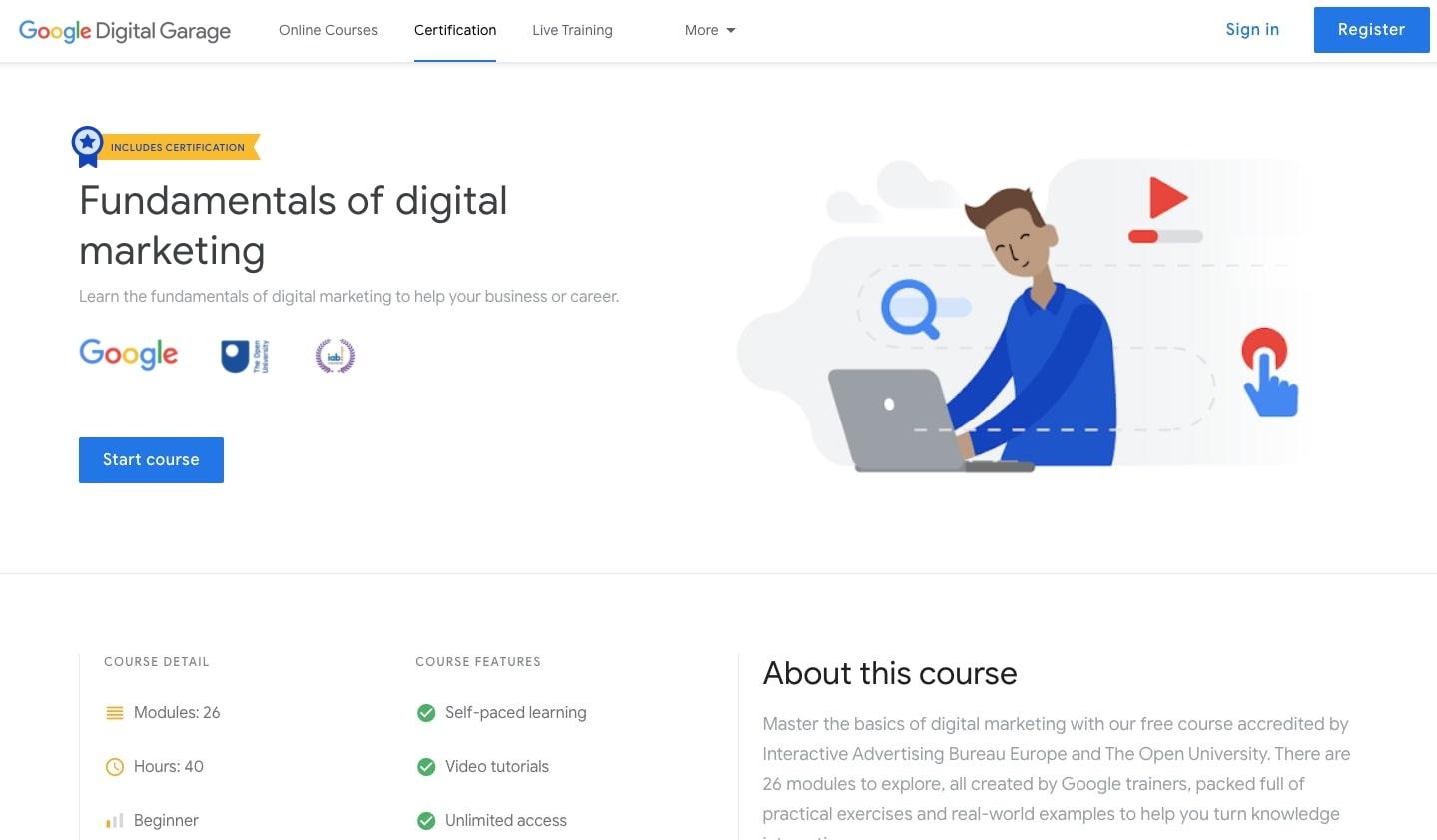 Google's fundamentals of digital marketing course