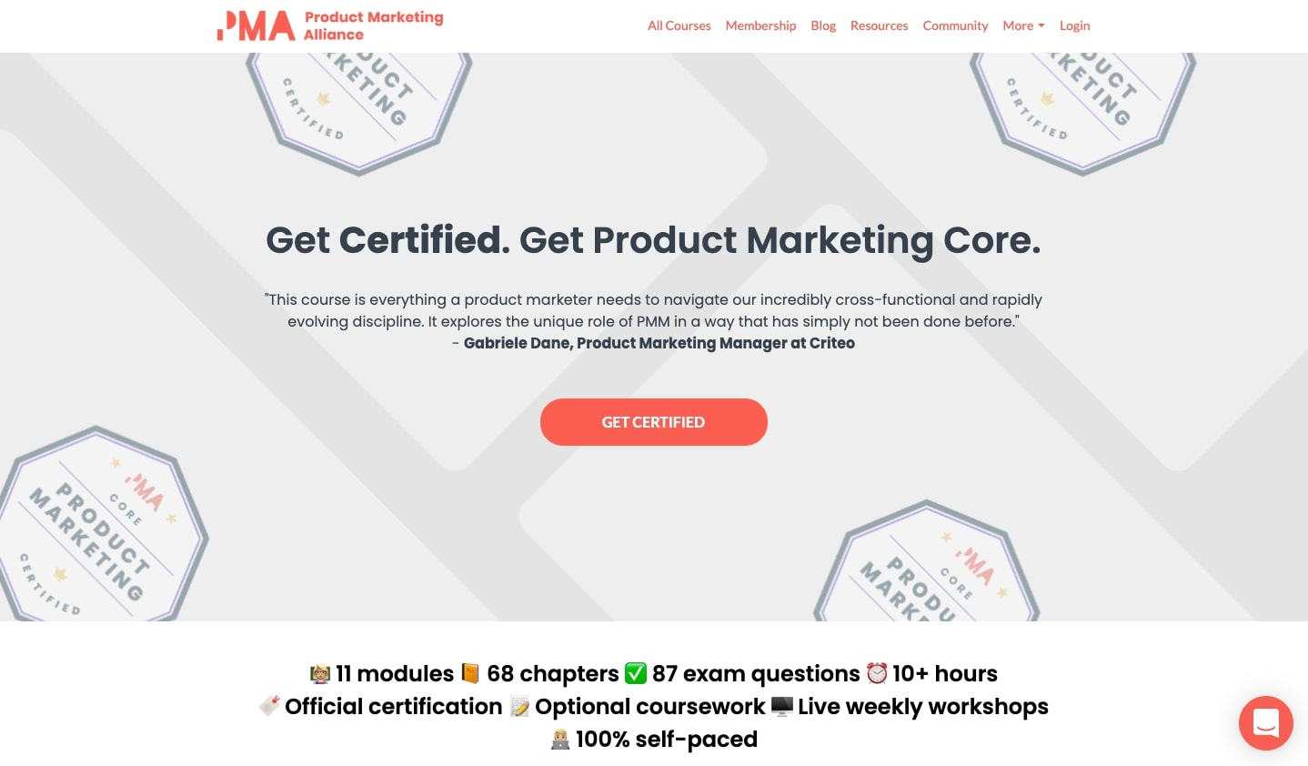 Product Marketing Alliance's Product Marketing Core course