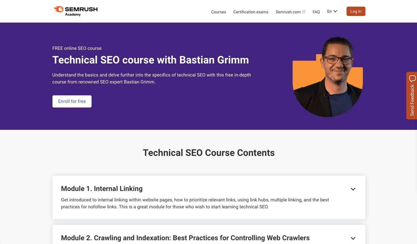 Technical SEO course by Semrush