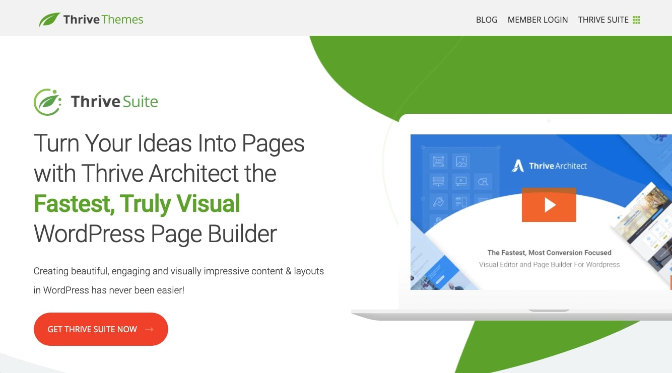 Thrive Architect landing page builder