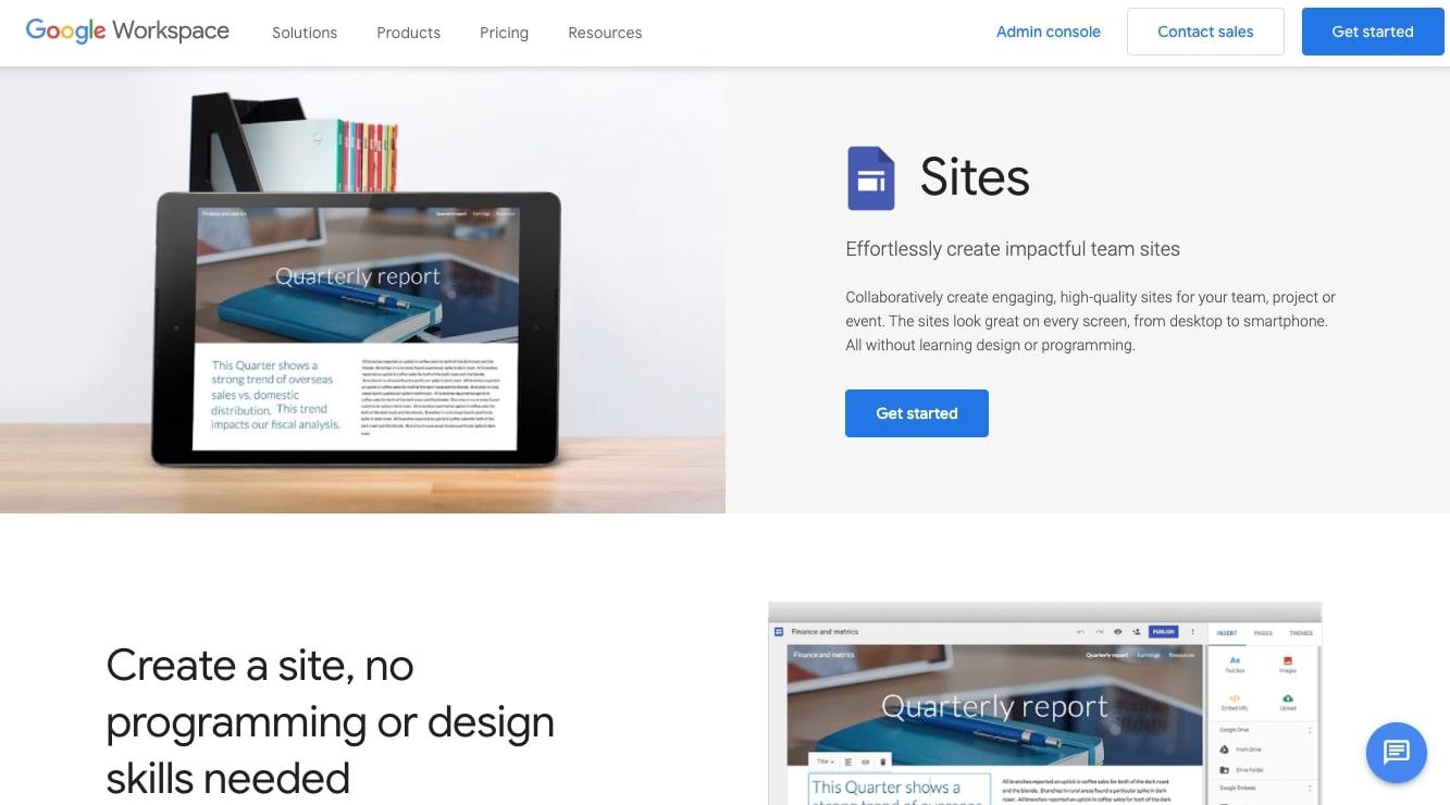 google sites landing page builder