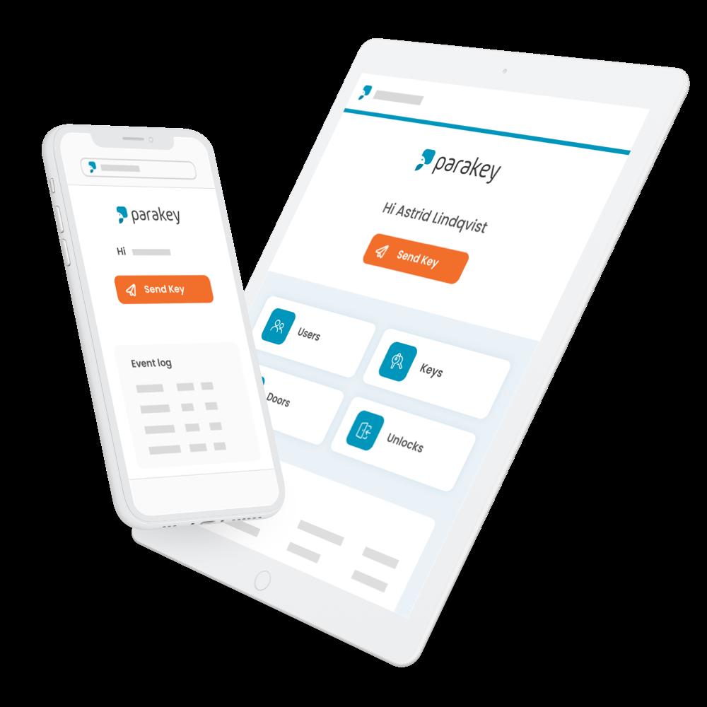 Parakey Web Portal on an iPhone and an iPad