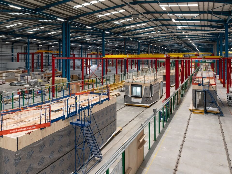 A modular prefabrication factory. Image courtesy Land and General Modular Homes.