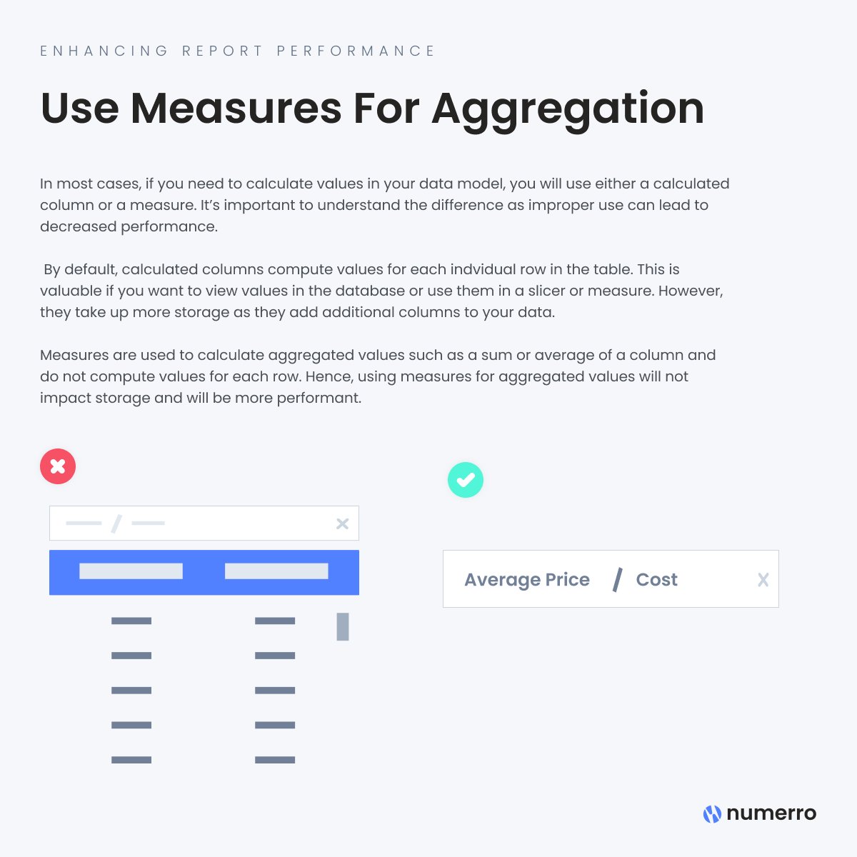 Enhancing Report Performance -Use Measures for Aggregation